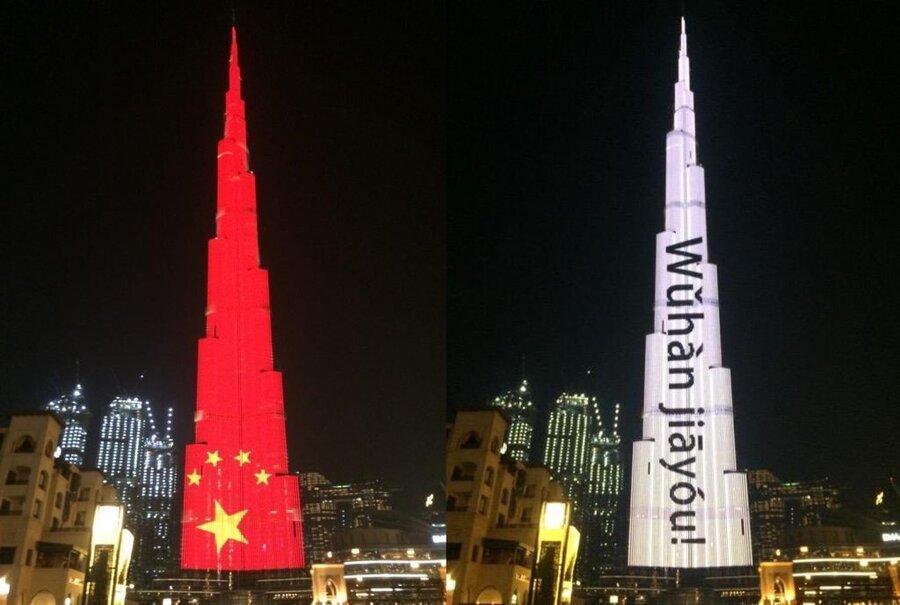 برج خلیفه دبی، بلندترین ساختمان دنیا، برای پشتیبانی از مبارزه چین با کرونا روشن شد
