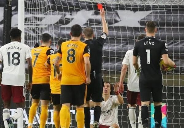 لیگ برتر انگلیس، آرسنال 9 نفره تسلیم گرگ ها شد